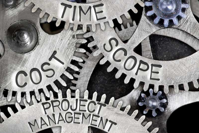 image of gears that say cost, time, scope, project management