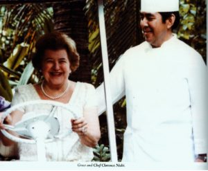 Image of Grace Buscher Guslander with Chef Clarence Nishi