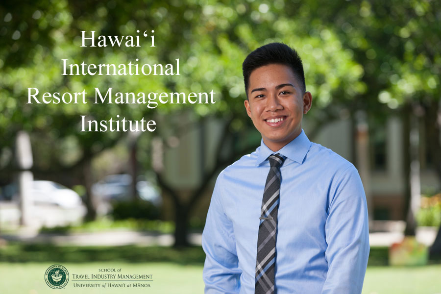 image of young man. Text says Hawaii International Resort Management Institute.