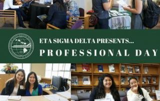 Eta Sigma Delta Professional Day 2018 flyer
