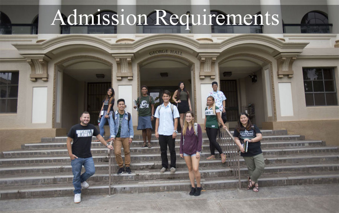image of students text says Admissions Requirements